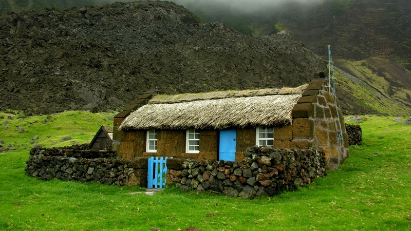 Tristan da Cunha Islands UK Thatched Museum Cottage